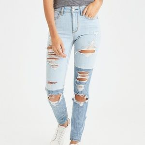 American Eagle ripped two tone jeans